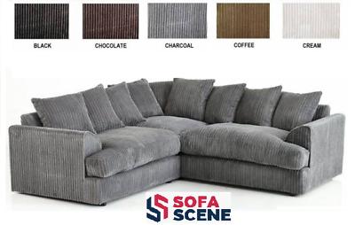 Jumbo Cord Sofa Fabric Suite Black Coffee Grey Brown Lounge Armchairs Set Chair