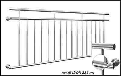 Französischer Balkon LYON 225x90cm Edelstahl Geländer Stabgeländer Gebürstet