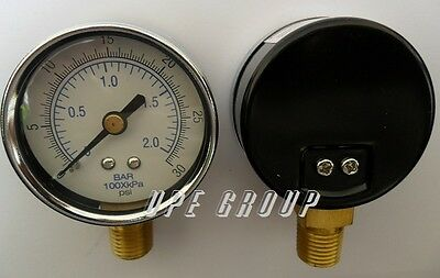 New Pressure Gauge Wog Air Compressor Hydraulic 2 Face 0-30 Lower Mnt 14 Npt