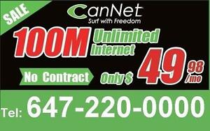 Lowest price 100M unlimited internet for $55/month, one time $30 install, NO CONTRACT ( Non-Rogers area speed varies)