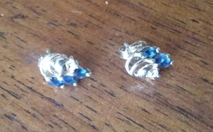 9ct gold diamond and sapphire earrings