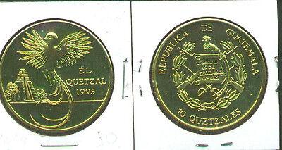 Rare 1995 Guatemala Brass 10 Quetzal Bird pattern,mntg150