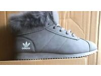 Brand New Ladies Grey Adidas Ankle Boot Trainers Sizes 4 - 5 - 6 -7