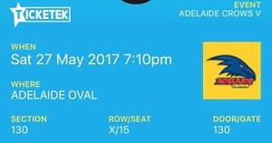 2 tickets for Adelaide Crows v Fremantle Dockers (27 May) Kensington Park Burnside Area Preview