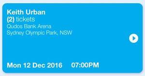 2 x Tickets (mobile tickets) to Keith Urban Qudos Bank Arena 12/12/16 Heddon Greta Cessnock Area Preview