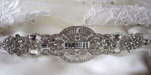 Bridal-Dress-Gown-Beaded-Jeweled-Crystal-Belt-Sash-Applique-Brooch-Art-Deco