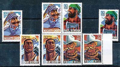 TIMBRE STAMP ZEGEL U.S.A. AMERIQUE HEROS POPULAIRES 2525-2528 X 2 XX