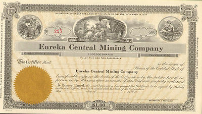 Eureka Central Mining Company Nevada stock certificate
