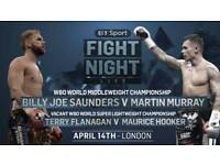 V.I.P Billy Joe Saunders fighting Murray tickets for the 15th of April