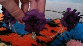 2 x purple & gold head garlands