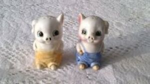 vintage overall pig salt and pepper shakers