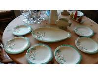 Art decco fish plates and sauce pot