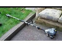 Titan petrol landscaping tool with chainsaw head