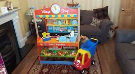 Wooden toy shop with accessories