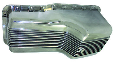 SB Ford SBF Polished Finned Aluminum Front Sump Oil Pan 289-302 5 Qt Mustang (Ford Oil Pan)
