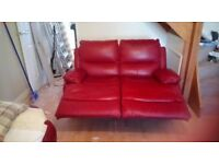 Club Red 2 seater leather recliner