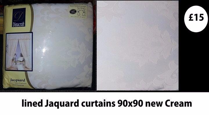 lined jacquard cream curtains unused 90 x 90
