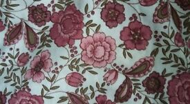 Vintage pink floral print curtains