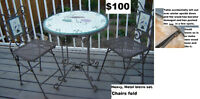 Heavier/sturdy metal bistro set with foldable chairs