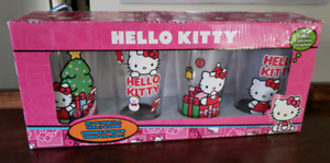 New :HELLO KITTY set of 4 drinking glasses Christmas 16oz