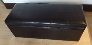 Large faux leather storage ottoman - as is