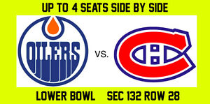 Edmonton Oilers vs. Montreal Canadiens - Lower Bowl - 4 Tickets