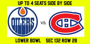 Edmonton Oilers vs. Montreal Canadiens - Lower Bowl - 4 Tickets