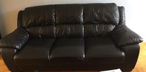 Leather couch and armchair. Black