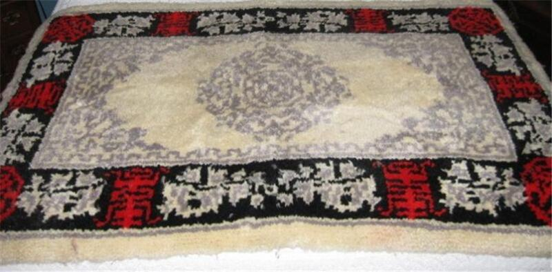 Vtg 1981 Shillcraft Wool Yarn Latch Hook 3 x 5 Completed Rug Tapestry Red