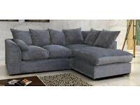 Grey Dylan Jumbo Cord - Corner Sofa Set - Handmade Corner Sofa - 2 3 Seater Corner Sofa Set