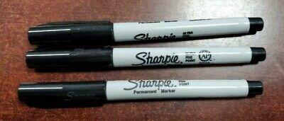 Sharpie Ultra Fine Point Black Permanent Marker quantity of 3 Fresh Stock NEW ()