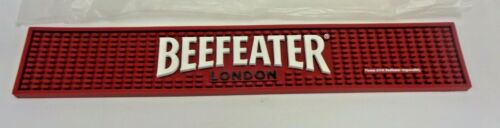 """BEEFEATER GIN, RED RUBBER MAT WITH WHITE LETTERING 21"""" X 3 3/4"""", NEW NEVER USED"""