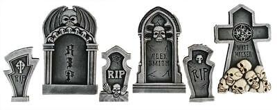 SET OF 6 Tombstones Cemetery Outdoor Halloween Prop Decor HAUNTED HOUSE Spirit - Cemetery Halloween Props
