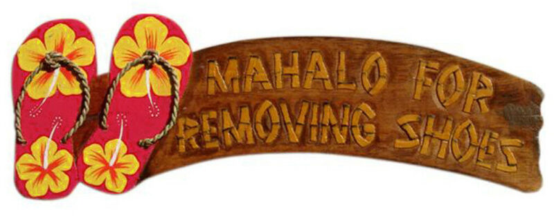 Hand Carved 3D Painted Wood Sign PlaqueMahalo For Removing Shoes Red Flip Flops
