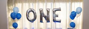 ONE helium balloon silver large first birthday party