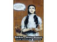 BANKSY - RARE ORIGINAL LIMITED EDITION EXHIBITION POSTER - c2009 - CUSTOM FRAMED (Bristol Museum)