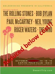 Desert Trip, TODAY ONLY!! $475 X 6, Oct 14-16, 3 day pass