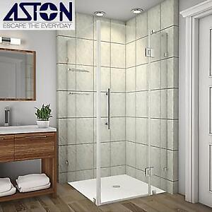"NEW ASTON SHOWER ENCLOSURE SEN992-SS-3738-10 200738233 AVALUX GS 37""x38""x72"" FRAMELESS WITH GLASS SHELVES"