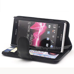 Premium Credit Wallet Leather Case Cover For Sony Xperia Acro S Lt26w