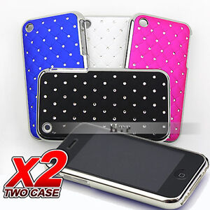 2 x Luxury Chrome Bling Hard Back Case Cover For Apple iPhone 3GS 3G 3
