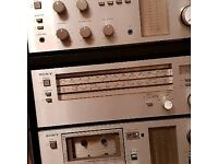 Sony HiFi consisting of record deck, radio, amplifier, tape deck, CD player Housed in teak cabinet