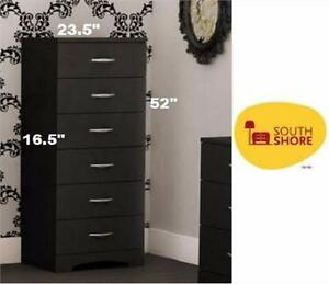 NEW SOUTH SHORE 6-DRAWER CHEST BLACK furniture bedroom storage clothing  85399366