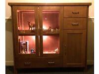 Modern Stylish Solid Oak Illuminated Display Cabinet - Not Flat Pack