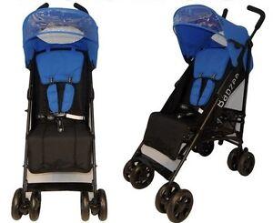 New-2012-Babzee-Citi-Stroller-Blue-On-Black-New-Design-Inc-Raincover
