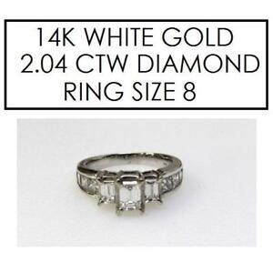 STAMPED 14K GOLD DIAMOND RING 8 - 133231955 - JEWELLERY JEWELRY 14K WHITE GOLD - 2.04 CTW DIAMOND