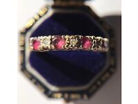 Vintage Seven Stone Ruby and Diamond Half Eternity Ring.