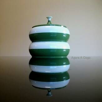 VINTAGE RETRO Stackable Plastic Canisters OLIVE GREEN Atomic MOD