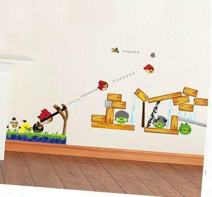 Angry birds wall stickers ebay for Angry birds mural