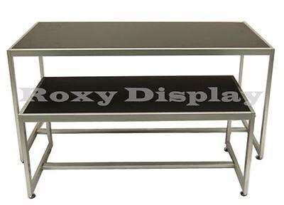 Black Color Table Set With Matte Silver Frame Racks Stands Ta2bk-rk