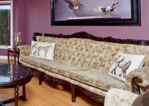 Carved wood sofa and chairs $998